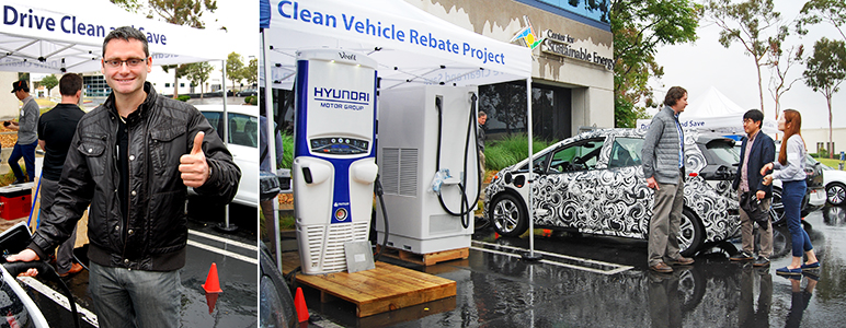 Photos of electric vehicle charging test symposium