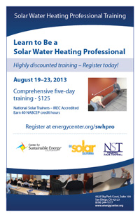 Solar Water Heating Training Flyer