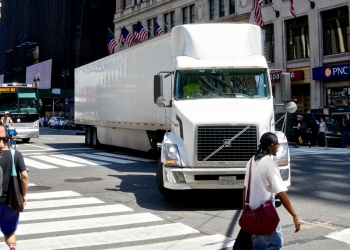 Tractor-Trailer and Pedestrians Crossing, 7th Avenue, Manhattan