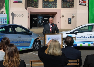 Ceremony announcing electric vehicle rebates