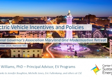 Title slide of the presentation Electric Vehicle Incentives and Policies