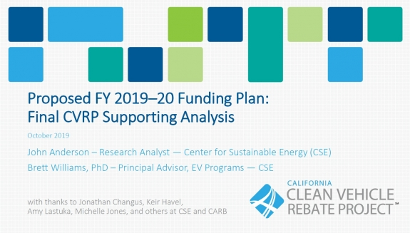 Proposed FY 2019–20 Funding Plan: Final CVRP Supporting Analysis